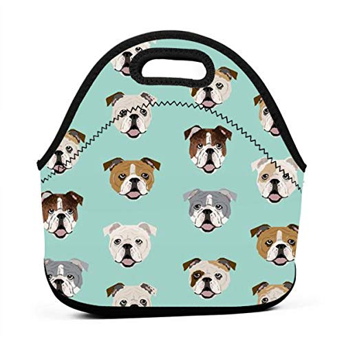 Lunch Box Totebox Heat-Resistant Neoprene Lunch Organizer Portable Food Container Container Stupid Funny English Bulldog Snack Bag for Women Men And Kids, Office School Work