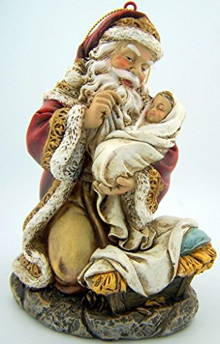 Kneeling Santa with Infant Christ Figurine Resin Christmas Tree Ornament, 5 Inch