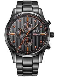 BUREI Mens Analog Multifunction Chronograph Black Stainless Steel Watch Stopwatch with Calendar