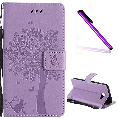 (Samsung Galaxy J5 Prime Cover EMAXELER Diamond Embossed Stylish Kickstand Case Credit Cards Slot Cash Pockets PU Leather Flip Wallet Case For Samsung J5 Prime Wish Tree Light Purple)