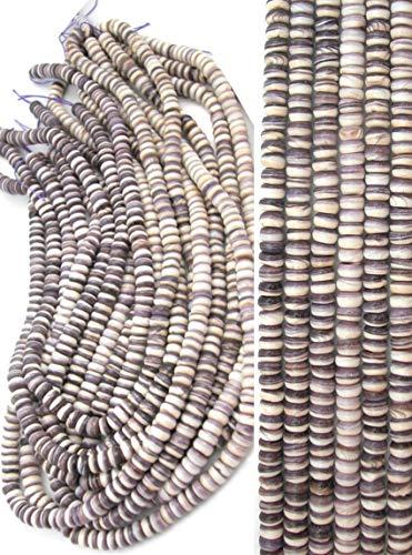 (Rare Wampum (Quahog Shell) Graduating 6mm Wheel Rondell Beads, 16 inch Strand)