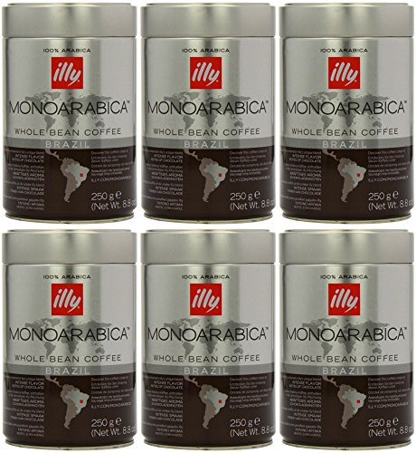 Illy Monoarabica Unscathed Bean, Single Origin Brazil Coffee Beans 8.8 Ounce (Pack of 6)