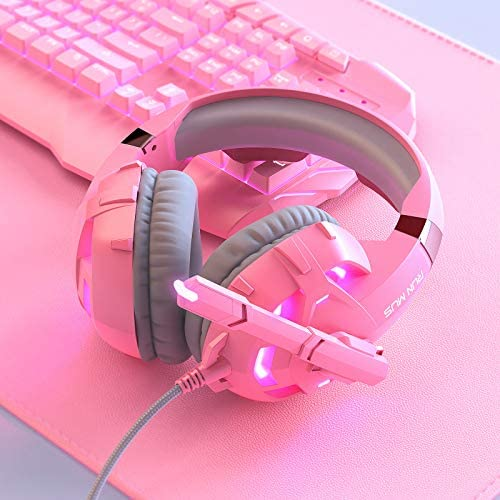 RUNMUS Gaming Headset Xbox One Headset PS4 Headset with Noise Canceling Mic & LED Light, Compatible with PC, PS4, PS5, Xbox One Controller(Adapter Needed), Pink