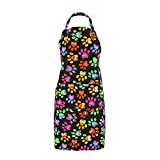 Colorful Paw Print Pet Lovers Kitchen Apron with Pockets