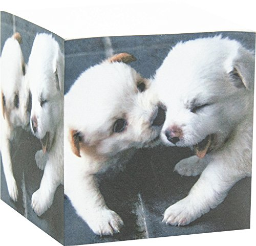 4A Sticky Memo Cube,2.87 x 2.87 Inches,Notes Cube with White Dog Patterned Printed On The Four Sides, About 580 Sheets/Cube,1 Cube/Pack, 4A SMC - Stationary Cube