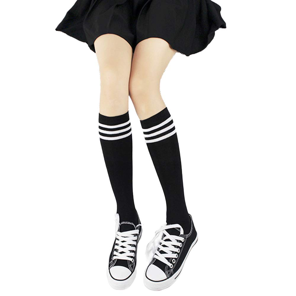 College Style Striped Tube Stockings for Girls
