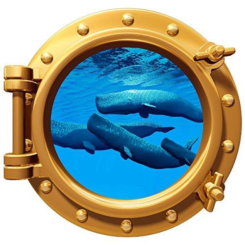 Whale Pod Underwater Porthole Wall Color Decal Graphic 12