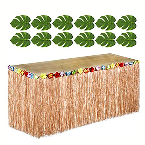 Adorox 12 pc Tropical Green Leaves included 1 Hawaiian Luau Hibiscus Brown Table Skirt (9 ft) -