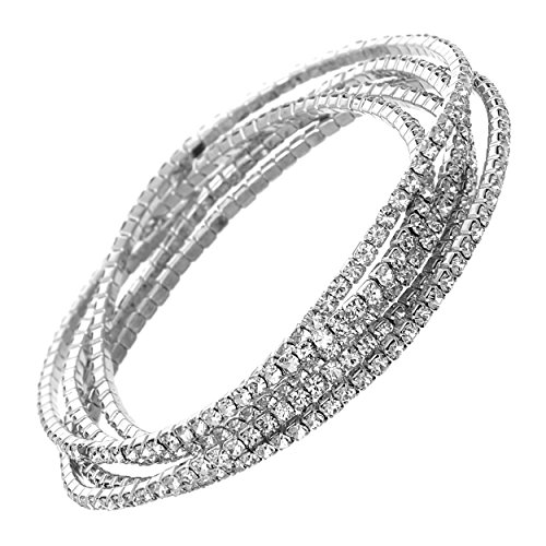 Rosemarie Collections Women's Set of 5 Rhinestone Stretch Bracelets (Silver Tone/Clear Crystal)
