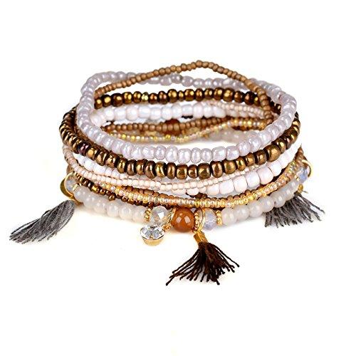 RareLove Bohemian Beaded Bracelet Brown Stretch Strand Wrap With Charm Layered Three Tassels