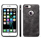 iPhone 7 Leather Case,iPhone 8 Leather Case, Ultra Slim Fit Artificial PU Synthetic Leather Case Shock Resistance Cover for iPhone 7/iPhone 8, 4.7 Inch (Dark Gray)