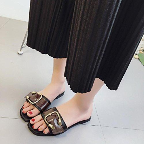 Zapatos hunpta de verano estilo sandalias de tacón bajo para mujer, sandalias romanas, chancletas marrón marrón Talla:36 negro