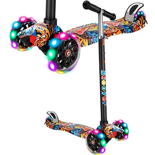 AMHoome Scooter for Kids Boys Girls Age 3-12, 3 Wheel Mini Kick Scooter with Adjustable Detachable Handbar and LED Light Up Wheels, Support 110Lbs (Red) (Best Stunt Scooter For 12 Year Old)