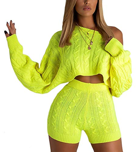 Cosygal Women's Casual Knit 2 Piece Outfit Long Sleeve Sweater Pullover Crop Top and Shorts Jumpsuit Dress Set Neon Green Large -