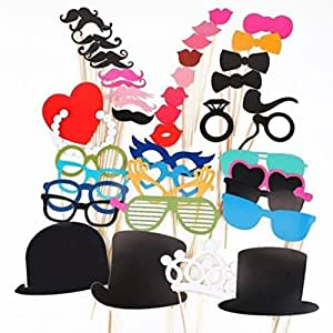 DIY Set of 44 Pcs Props Masks On A Stick Mustache Photo Booth Party Fun Wedding Christmas Birthday
