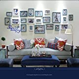 Hyun times Photo wall solid wood simple modern living room sofa background bedroom photo frame combination ( Color : Blue )