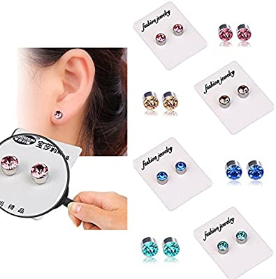 9e7686cb14c 4 Pairs of Weight Loss Crystal Fake Earrings Healthy Stimulating Acupoints Stud  Magnetic Therapy (4 Colors in 1  Champagne