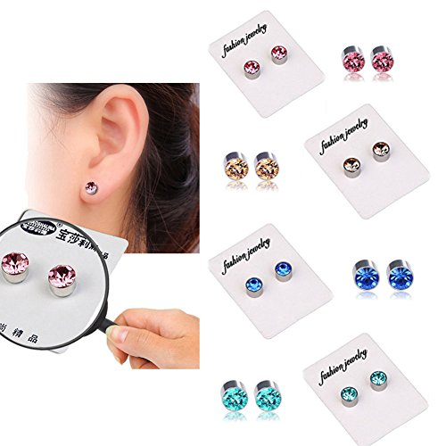 4 Pairs of Weight Loss Crystal Fake Earrings Healthy Stimulating Acupoints Stud Magnetic Therapy (4 Colors in 1 Set: Champagne, Pink, Royal Blue, Lake ()