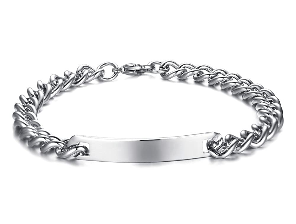 Mealguet Jewelry Personalized Custom Black Stainless Steel Nameplate ID Name Inspiration Bar Bracelets for Men Women MG-CB-027BW+BM-KZ