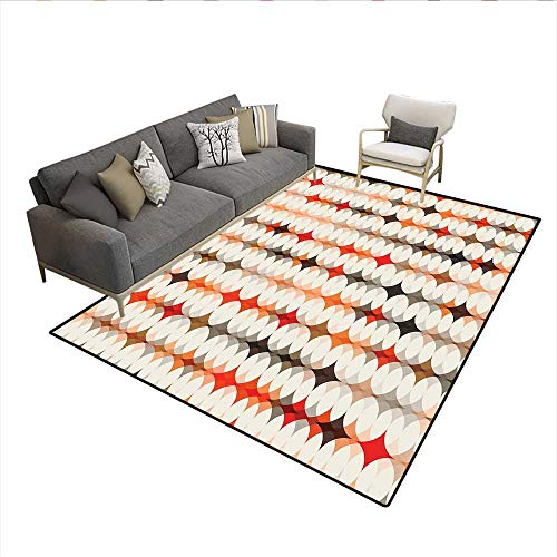 Floor Mat,Vintage Oval Pattern with Radiant Tone Effects Mosaic Illustration,8939D Printing Area Rug,Cream Peach Orange Red 6