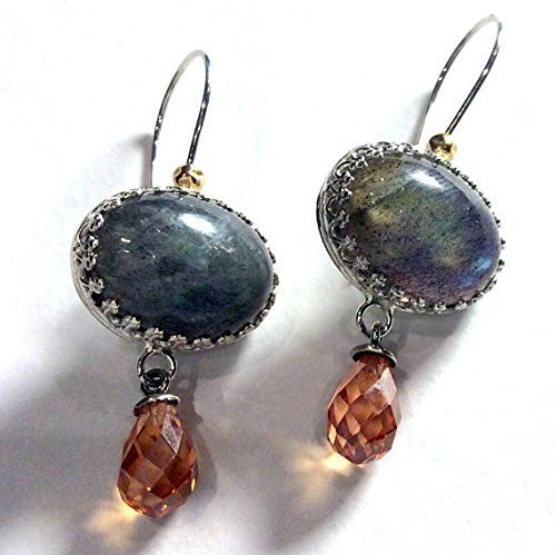 Sterling silver drop labradorite gemstone earrings with champagne quartz dangles - Shades of life E8003