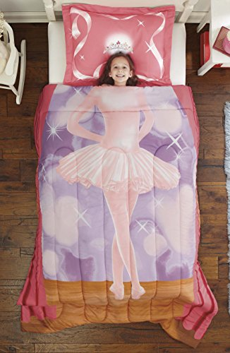 Dream Big Ballerina Ultra Soft Microfiber 2-Piece Comforter Sham Set, Pink, Twin (The Big One Comforter Sets)