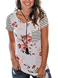 HIKARE Women's Summer Floral Print Striped Short Sleeve Casual T-Shirt Tops With Pocket