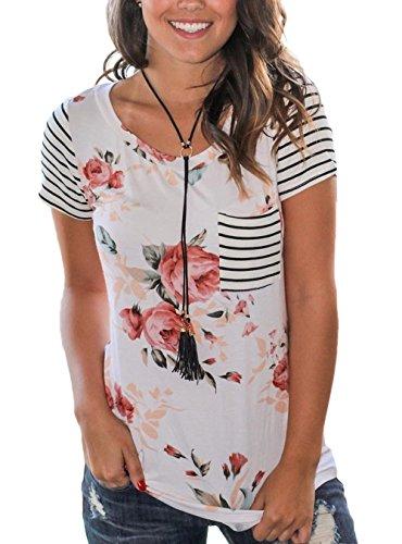 [해외]HIKARE 여성용 여름 꽃 무늬 스트 라이프 반팔 캐주얼 티셔츠 탑스와 포켓/HIKARE Women`s Summer Floral Print Striped Short Sleeve Casual T-Shirt Tops With Pocket