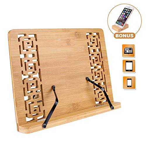 Joyoldelf Middle Size BamBoo Reading Book Stand with a Phone Holder- Rest Cookbook Holder, Foldable Tablet Cook Book Stand Bookrest with Adjustable Backing & Elegant Pattern, 13.4 x 9.4 x 1.7