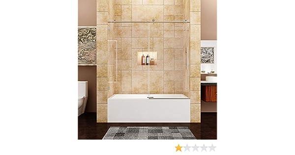 Sunny - Mampara de ducha sin marco, puerta corredera de vidrio de ...
