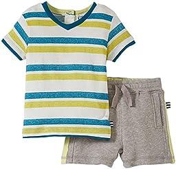 Splendid Littles Baby Boys\' Classic Tee Short Set, Stripe, 6 12 Months