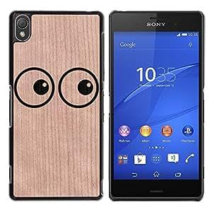 - Eyes Funny Looking Cartoon - - Funda Delgada Cubierta Case Cover de Madera FOR Sony Xperia Z3 BullDog Case