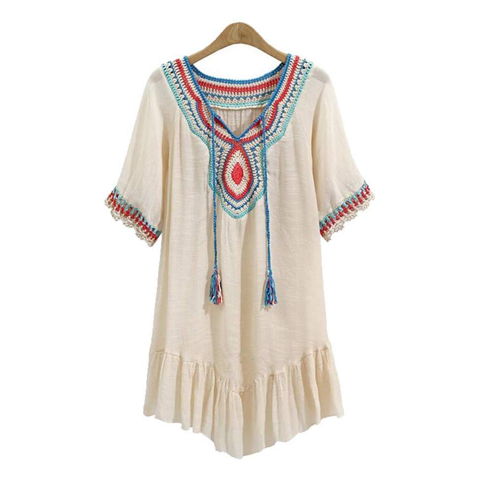 Women Short Sleeve V Neck Tops Boho Embroidered Shirt Loose Casual Bikini Beach Swimwear Cover up