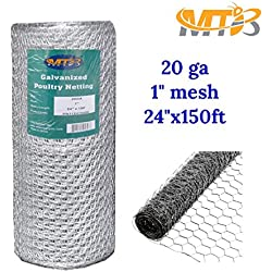 "Galvanized Hexagonal Poultry Netting,Chicken Wire 24""x150'- 1"" 20GA (also sold in 25' / 50' length)"