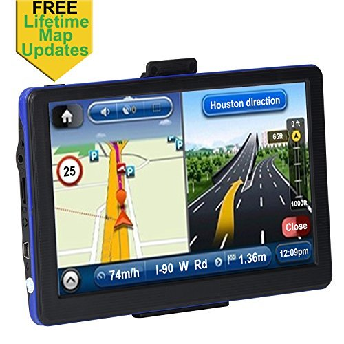 Portable Car GPS, 7 inch 8GB Spoken Turn-by-Turn Vehicle GPS Navigator Navigation System with USB Cable, Lifetime Map Updates, Blue
