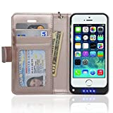 Navor iPhone 5 Folio Wallet Leather Protective Travel Battery Case 2200mAh -Rose Gold (IP5BTCRG)