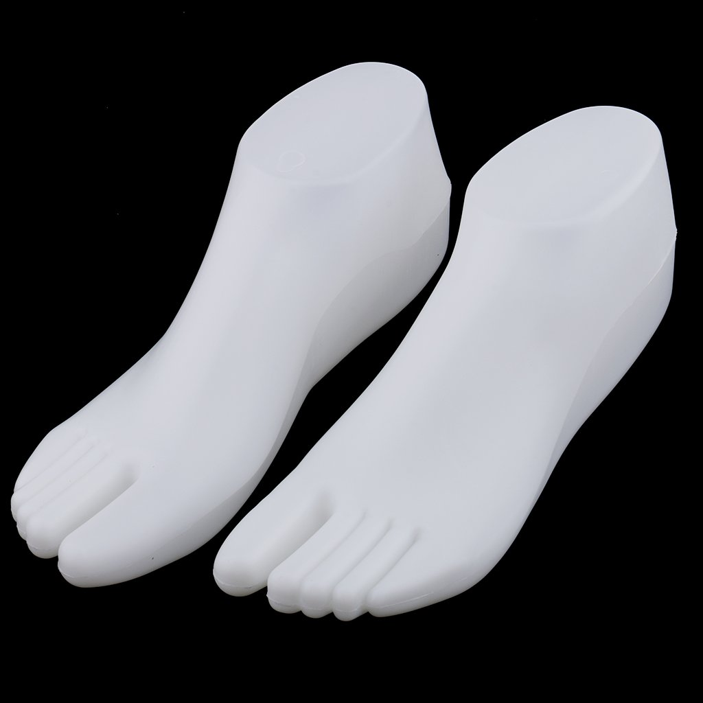 Homyl 1Pair Retail Stores Showcase Female Feet Mannequin Foot Thong Style Sandal Sock Display Model Holder Tool Right Left Foot Clear