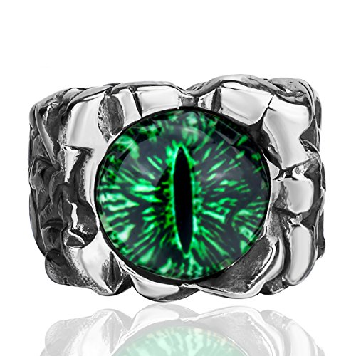 - Elfasio Men Stainless Steel Rings The Devil Eye Eyes of Hell Green Gothic Vintage Jewelry Size 13