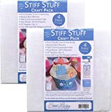 Sew Lazy Stiff Stuff Firm Interfacing Craft Pack of (4) 10 inch by 10 inch Squares, Bundle oTwo (2) Packages
