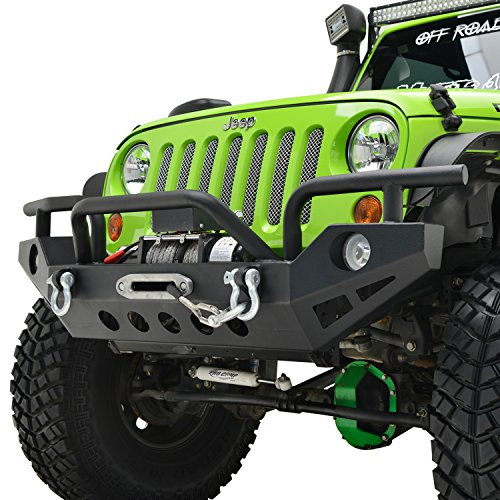 E-Autogrilles Rock Crawler Front Bumper With OE Fog Light Hole & D-ring & Winch Plate for 07-17 Jeep Wrangler JK (51-0307)