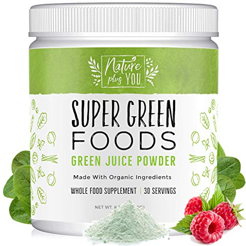 Super Greens Powder Organic Blend - Includes Spirulina, Alfalfa, Spinach, Acai, Probiotics and Digestive Enzymes, No Artificial Sweeteners, 30 Servings by Nature Plus - Powder Green