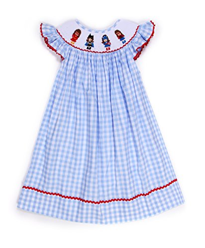 Babeeni Smocked Dresses For Girls With Supergirls Pattern On The Neck, Angel Sleeves Baby Blue Bishop (Angel Sleeve Bishop)