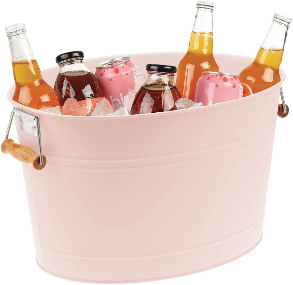 mDesign Metal Beverage Tub & Soda Pop, Beer, Wine, Ice Holder - Portable Party Drink Chiller - 18 Liter Container - Rustic Vintage Farmhouse Oval Storage Bucket Bin - Pink/Natural Bamboo Wood Handles