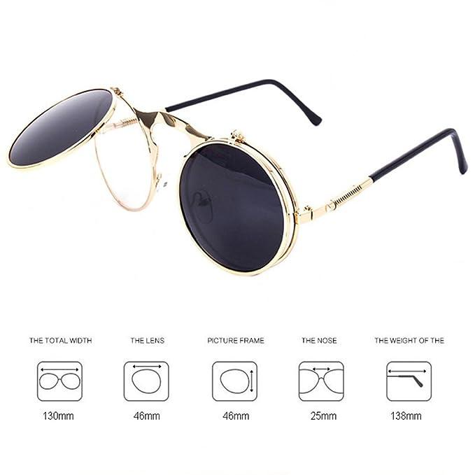 dcb599fbf00799 Dollger Herren Lennon Flip up Runde Sonnenbrille(Schwarze Linse+Rose  Goldrahmen)  Amazon.de  Bekleidung