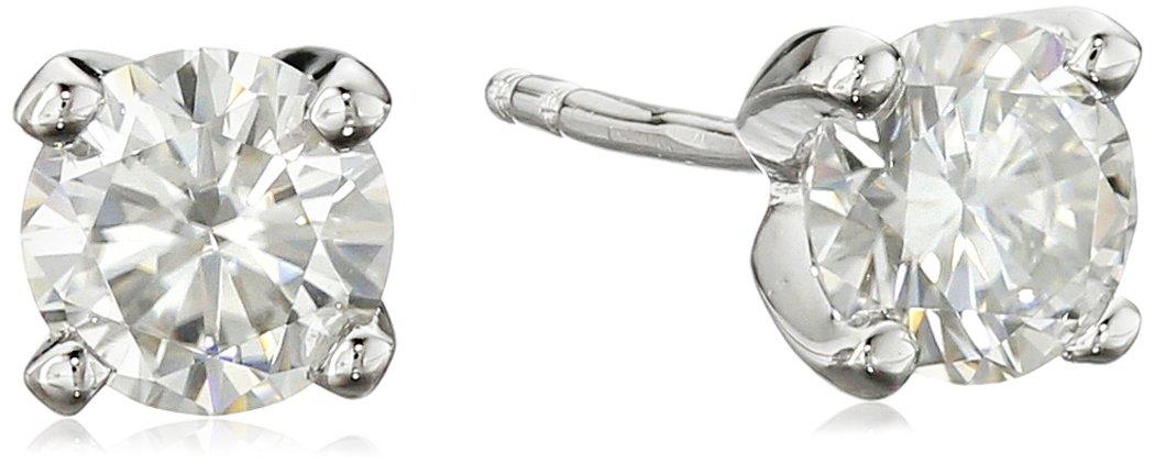 Platinum over Sterling Silver VG Moissanite 5mm Stud Earrings
