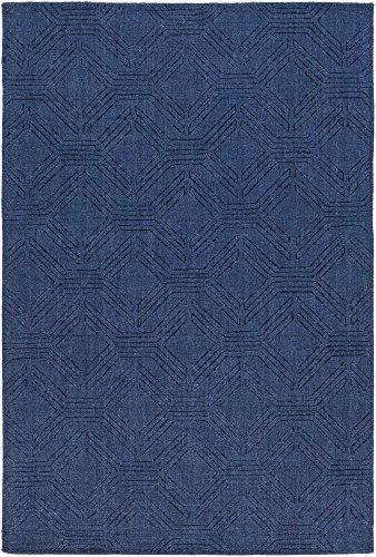 Wool Rug Border - Sarona Chevron Modern 8' x 10' Rectangle Solid & Border 100% Wool Navy Area Rug