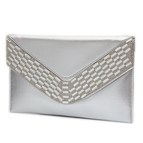 (Clutch Purse for Women Crystal Evening Bags and Clutches Rhinestone Evening Handbags (Silver-A))