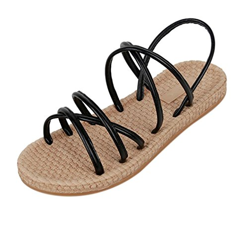 Inkach Womens Flat Sandals - Fashion Bohemia Summer Sandals Casual Straps Loafer Shoes Black