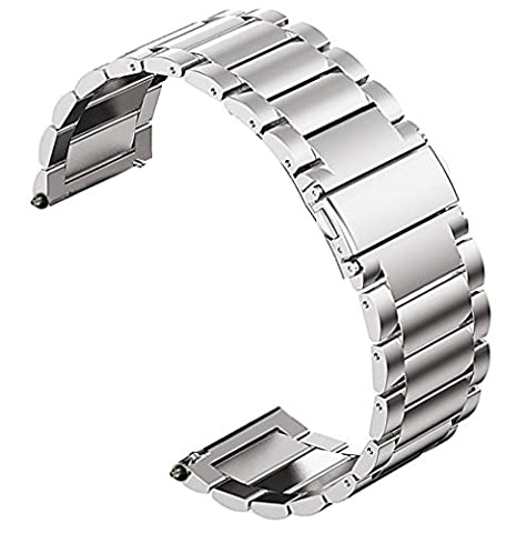 OTOPO Samsung Gear S3 Frontier/Classic Smartwatch Band, Solid Stainless Steel Business Watch Strap Replacement Bracelet for Moto 360 2 46mm, Pebble Time/Steel, Asus ZenWatch 1 2 Men (Sliver, (Pebble Band Ring)