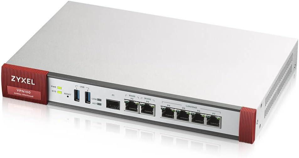 ZyXEL VPN100 Advanced Security VPN Firewall, 2000Mbps SPI Firewall, 500Mbps VPN w/100 IPSec and Up to 100 SSL VPN Tunnels, Advanced 100 VPNs